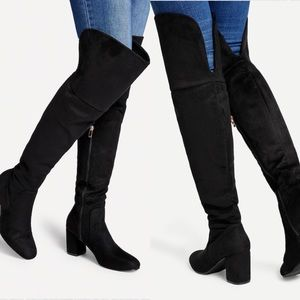Shoes - Black Luxurious Suede Over the Knee & Thigh Boots